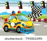 cartoon funny and happy looking ... | Shutterstock . vector #795001090