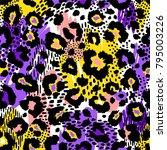 seamless leopard wild pattern.... | Shutterstock .eps vector #795003226