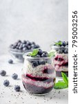 chia pudding with blueberry and ... | Shutterstock . vector #795003256