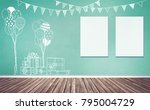 Stock photo  d rendering illustration of room preparing for party baby showers birthday chalk sketches of 795004729
