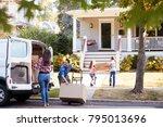 children helping unload boxes... | Shutterstock . vector #795013696