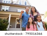 portrait of family holding keys ... | Shutterstock . vector #795016366