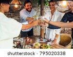hands of group of people... | Shutterstock . vector #795020338