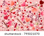 valentine's day background. red ... | Shutterstock . vector #795021070