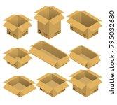 set of isometric open cardboard ... | Shutterstock .eps vector #795032680