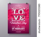 vector valentines day party... | Shutterstock .eps vector #795035380