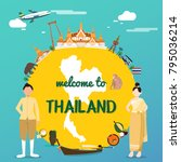 welcome to thailand with...   Shutterstock .eps vector #795036214