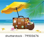 suitcase and coconut cocktail... | Shutterstock .eps vector #79503676