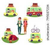 road trip set  bus and cars... | Shutterstock .eps vector #795037234