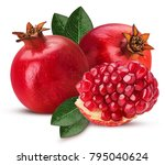 two ripe pomegranate fruit and... | Shutterstock . vector #795040624