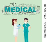 doctors with medical icons for... | Shutterstock .eps vector #795042748