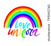 love unicorn unique lettering.... | Shutterstock .eps vector #795042760