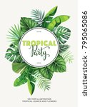 tropical party invitation with... | Shutterstock .eps vector #795065086