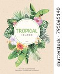 tropical vintage flyer with... | Shutterstock .eps vector #795065140