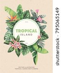 tropical vintage flyer with... | Shutterstock .eps vector #795065149