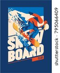 freeride snowboarder in motion. ... | Shutterstock .eps vector #795066409