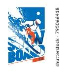 freeride snowboarder in motion. ... | Shutterstock .eps vector #795066418