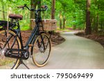 electric black cargo bicycle... | Shutterstock . vector #795069499