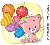 Stock vector greeting card cute cartoon kitten with balloons 795076039