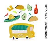 tacos  nachos  avocados and hot ... | Shutterstock .eps vector #795077038