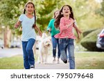grandmother and granddaughters... | Shutterstock . vector #795079648