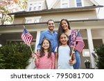 portrait of family outside... | Shutterstock . vector #795081700