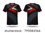 soccer jersey template.red and... | Shutterstock .eps vector #795083566
