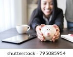 money saving piggy bank for... | Shutterstock . vector #795085954