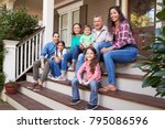 multi generation family sit on... | Shutterstock . vector #795086596