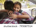 mother in car dropping off... | Shutterstock . vector #795087514
