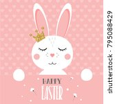 easter bunny with glitter crown | Shutterstock . vector #795088429