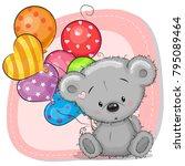 greeting card cute cartoon...   Shutterstock .eps vector #795089464
