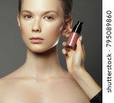 makeup artist applies cosmetics.... | Shutterstock . vector #795089860