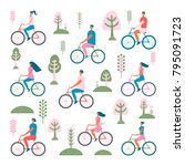 happy people on bicycles.... | Shutterstock .eps vector #795091723