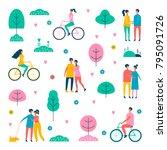 happy people. vector... | Shutterstock .eps vector #795091726