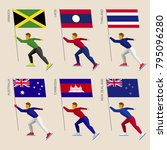 set of simple flat athletes... | Shutterstock .eps vector #795096280