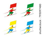 set of simple flat athletes... | Shutterstock .eps vector #795097480
