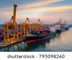 containers yard in port... | Shutterstock . vector #795098260