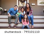 portrait of family sitting on... | Shutterstock . vector #795101110