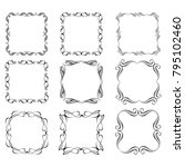 set of vector vintage frames on ... | Shutterstock .eps vector #795102460