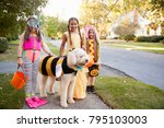 children and dog in halloween... | Shutterstock . vector #795103003