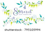 8 march floral vector greeting... | Shutterstock .eps vector #795105994