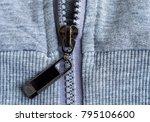 zipper on cotton background. ... | Shutterstock . vector #795106600