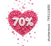 70  or seventy percent pink... | Shutterstock . vector #795111850
