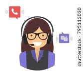 customer support service... | Shutterstock .eps vector #795112030