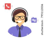 customer support service... | Shutterstock .eps vector #795112036