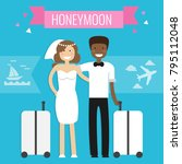 honeymoon concept. wedding... | Shutterstock .eps vector #795112048