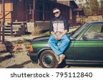 guy in the nineties sitting on... | Shutterstock . vector #795112840