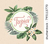 tropical vintage hawaiian flyer ... | Shutterstock .eps vector #795113770