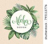 tropical vintage hawaiian flyer ...   Shutterstock .eps vector #795113776